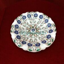 "12"" Marble Fruit Bowl Plate Rare Inlay Marquetry Dinning Table Decor Art Gift"