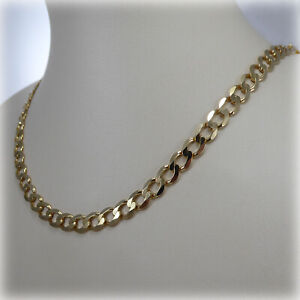 """9ct Yellow Gold Gents 20"""" Flat Curb Link Necklet"""