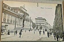 cartolina antica ROMA - Via Nazionale - ANIMATA - PRIMO '900  TRAM e persone