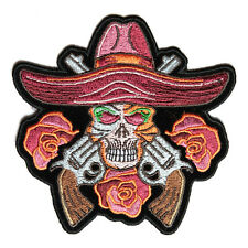 Embroidered Skull Guns & Roses Sew or Iron on Patch Biker Patch