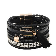 Wide Magnet Closure Wide Bracelet Rhinestone Crystal Slake Deluxe Black Cuff
