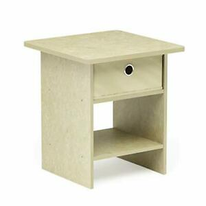 Furinno Dario End Table, Side Table, Night Stand Storage Shelf with Bin Drawer,