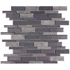 Classic Linear Grey Porcelain Stone Mosaic Tile Backsplash Kitchen Wall MTO0239