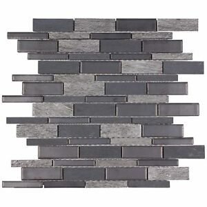 Classic Linear Grey Porcelain Stone Mosaic Tile Backsplash Kitchen Wall MTO0239