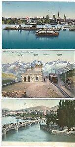 MAGMA AK SCHWEIZ lot 3st. genf,gornergrat bahn,zürich 1905,11 gute briefmarken