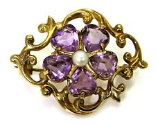Heavy Vintage Heart Amethyst Flower Cluster & Pearl 9ct Yellow Gold Brooch