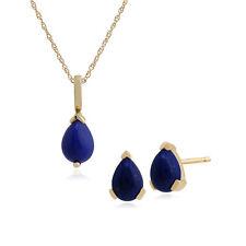 Gemondo 9ct Yellow Gold Pear Lapis Lazuli Stud Earring & 45cm Necklace Set