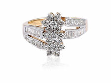 Pave 0.96 Cts Natural Diamonds Engagement Ring In Fine Certified 14K Yellow Gold