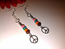 *Hippy* peace*festival beads surfer Drop Dangle Earrings