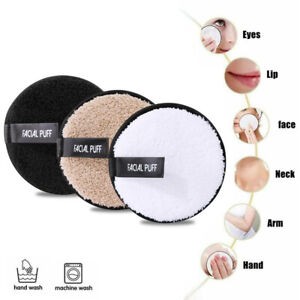 3 Pcs Washable Makeup Remover Pads Face Cleansing Microfiber Puff - 3 Colour