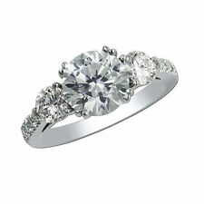 White Gold Round Cut Vvs1 Size 6246 1.80 Ct Diamond Engagement Rings Fine 14K