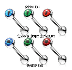 Round Eyeball * Snake Eye * Inlaid Surgical Steel Tongue Ring Straight Barbell