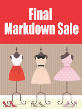 "Final Markdown Sale Apparel Retail Display Sign, 18""w x 24""h, Full Color"