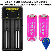 2x BATTERY NEXCELL ICR 26650 6800mAh 25A 3.7v BATTERIA LITHIUM + SMART CHARGER