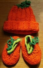 Newborn 0-3 months Halloween Pumpkin Orange Fancy dress Novelty Hat and Booties
