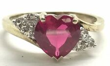 Sterling Silver Gold Tone Heart Pink Tourmaline - CZ Elegant Love Cocktail Ring