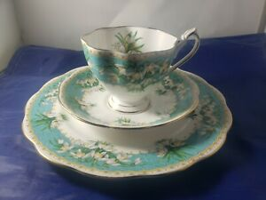 "Queen Anne ""Marilyn"" English Bone China Teacup Trio Set Snowdrop"