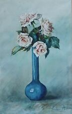 Jolie Aquarelle ancienne XIX° Roses Vase bleu Signée