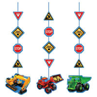 Hanging Cutouts x3 Boys Birthday Party Construction Party Digger Excavator Decor