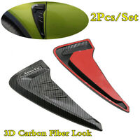 Car Fender Blade Side Wing Vent Shark Gills Decor Stickers 3D Carbon Fiber Look