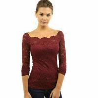 Hot Elegent Women Lace Tops Long Sleeve Floral Shirt Casual Blouse Loose T-shirt