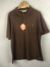 VINTAGE Mens YVES SAINT LAURENT Mens Polo Shirt YSL Short Sleeve BROWN XL P55
