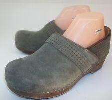 Sanita Womens Shoes Danish Clogs EU 40 US 9.5 Green Suede Woven Slip-on Wedge