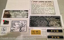 HONDA CB250 CB250N SUPER DREAM RESTORATION CAUTION DECAL SET 10 DECALS