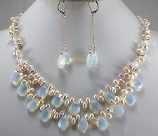 Zuchtperle & opal Halskette Ohrring-Set, 17inch