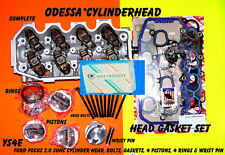NEW FOCUS 2.0 SOHC #YS4E CYLINDER HEAD 4 PISTONS BOLTS GASKETS RINGS WRIST PINS