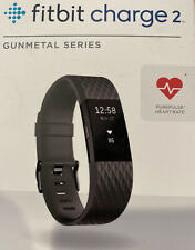 FITBIT CHARGE 2 HR HEART RATE MONITOR FITNESS ACTIVITY SLEEP TRACKER GUN METAL L