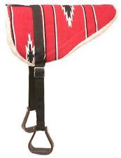 Horse Tough 1 Adult Navajo Bareback Pad Fleece Stirrups - Red