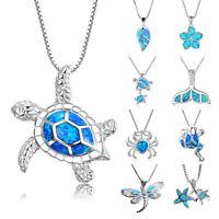 925 Silver Blue Opal Sea Turtle Cutout Pendant Women Beach Chain Necklace JP
