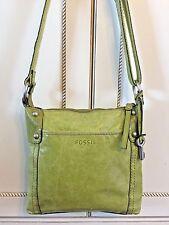 Fossil Hathaway Glazed Leather Crossbody Handbag Purse Lime Green Shoulder Bag