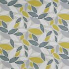 Prestigious Textiles Pimlico Grey Yellow Leaves Cotton Upholstery Curtain Fabric