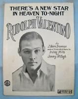 Theres A New Star In Heaven Tonight Sheet Music Vintage 1926 Rudolph Valentino O