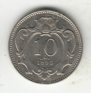 AUSTRIA 10 HELLER 1895 SHIELD            141P               BY COINMOUNTAIN