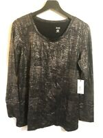 A NEW APPROACH A.N.A. Woman's long sleeve top size large black