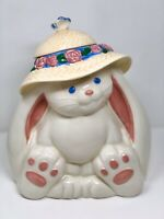 Treasure Craft Bunny Rabbit With Bonnet & Butterfly Cookie Jar, Large