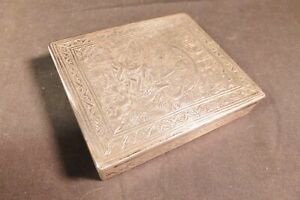 Antique Islamic Damascus Persian ENGRAVED STERLING SILVER CIGARETTE Box