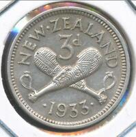 New Zealand 1933 Threepence 3d George V - Extra Fine