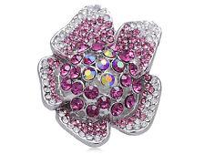 GB New Guinea Impatiens Fuchsia Pink Diamante Rhinestone Flower Fashion Ring