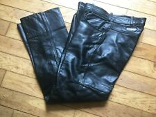 LEWIS LEATHERS MENS USED BLACK Leather Motorcycle Jeans SIZE 34 waist