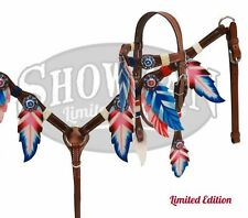 Showman LIMITED EDITION Red White Blue Feather Headstall Breast Collar Set