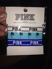 Victorias Secret Pink 3pk Tropical Palm Trees Hair Ties LOVE PINK White Turq Blu
