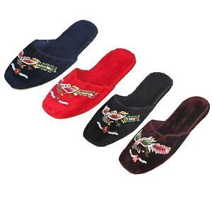 Handmade Embroidered Flying Phoenix Bird Chinese Women's Velvet Slippers New