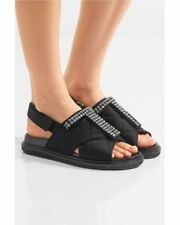Marni Fussbett Crystal-Embellished Black Quilted-Satin Sandals Sz 37 Us 7 $800