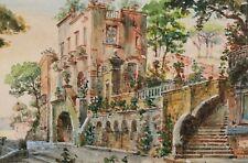 Aquarelle tableau caprice architectural paysage italien villa jardin parc Italie