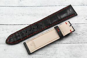 New Colour Strap Band OMEGA Black & Red Elegant Artisan 0 25/32in Crocodile