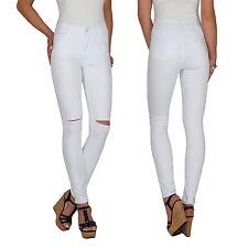 Damen High Waist Stretch Hochschnitt Skinny Röhren Jeans Hose Risse Übergröße E2